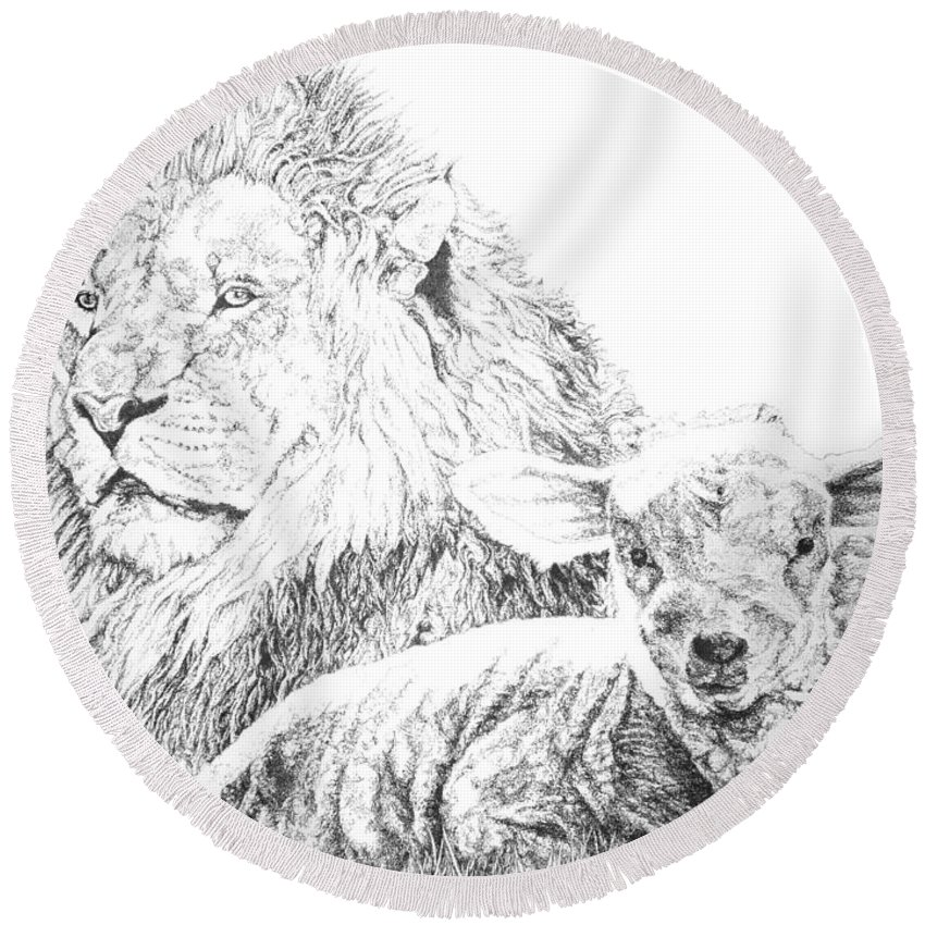 Lion Round Beach Towel featuring the drawing The Lion And The Lamb by Bryan Bustard