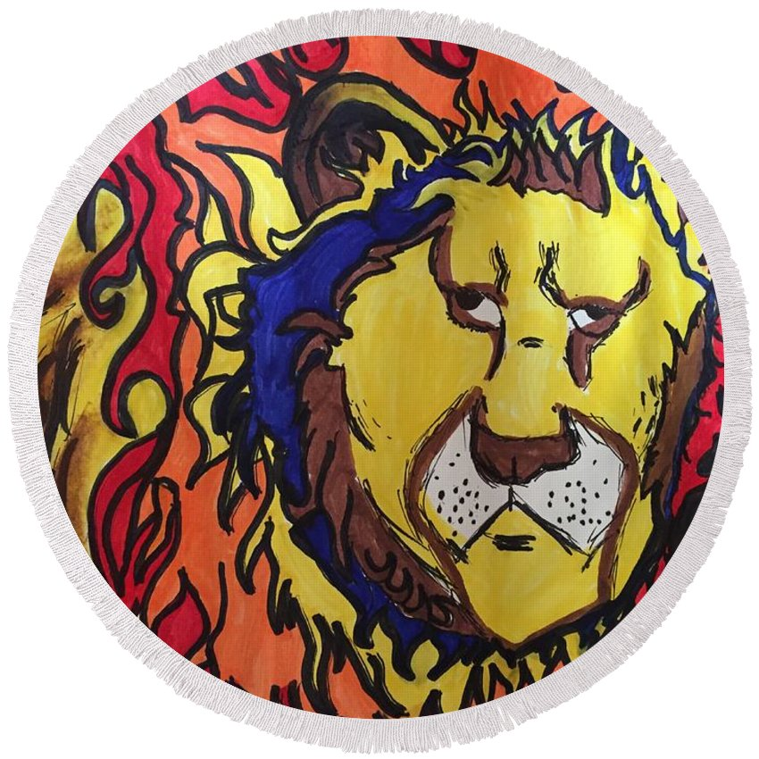 Lion Round Beach Towel featuring the drawing The Lions Mane. by Luis Rivera