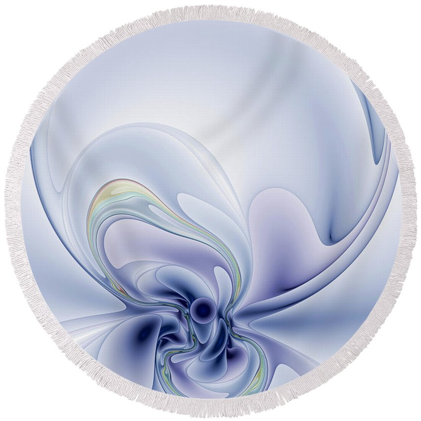 Abstract Round Beach Towel featuring the digital art The Liquidity Of Thought by Casey Kotas