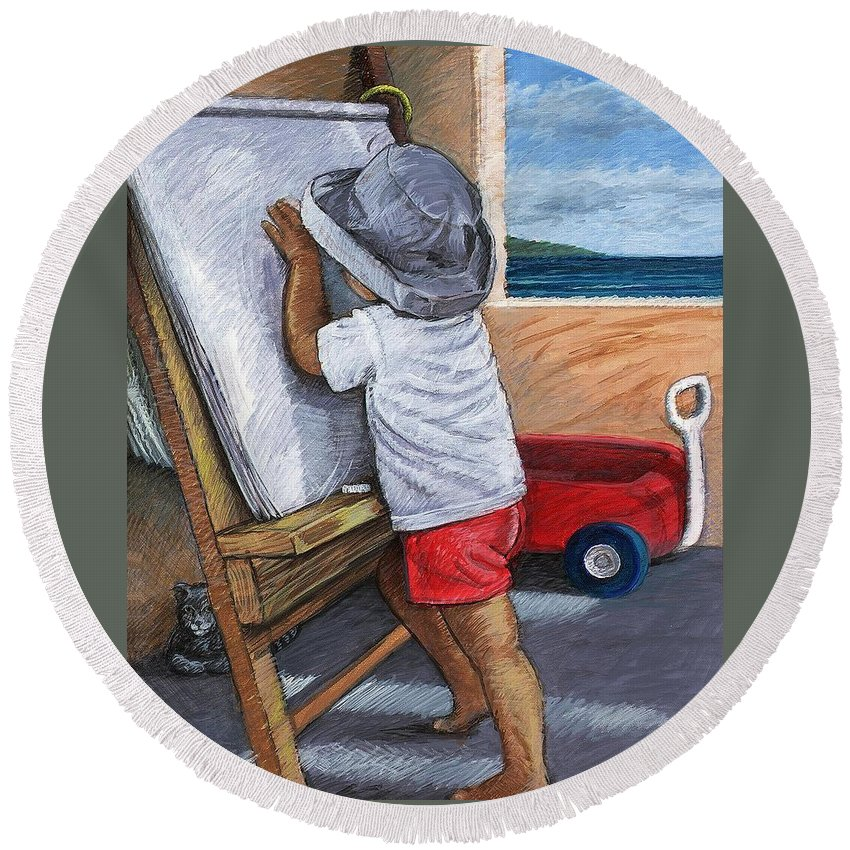 Young Artist Round Beach Towel featuring the painting The Little Artist by Snake Jagger