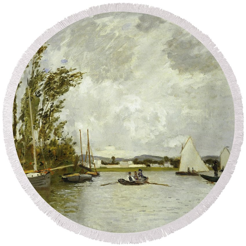 The Little Branch Of The Seine At Argenteuil (oil On Canvas) By Claude Monet (1840-1926) Round Beach Towel featuring the painting The Little Branch Of The Seine At Argenteuil by Claude Monet