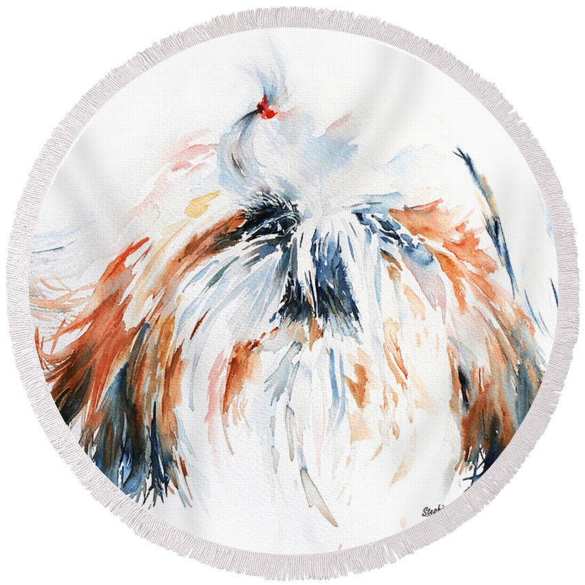 Stephie Butler Round Beach Towel featuring the painting The Little Horror by Stephie Butler
