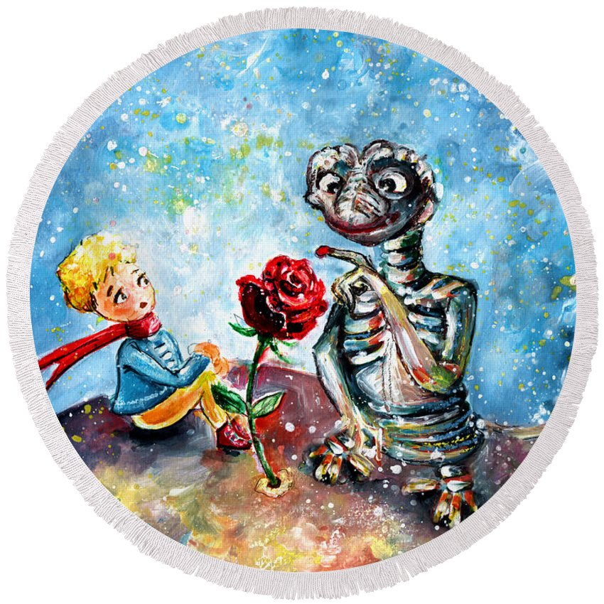 Fantasy Round Beach Towel featuring the painting The Little Prince And E.t. by Miki De Goodaboom