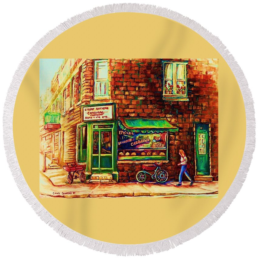 Montreal Round Beach Towel featuring the painting The Little Red Wagon by Carole Spandau