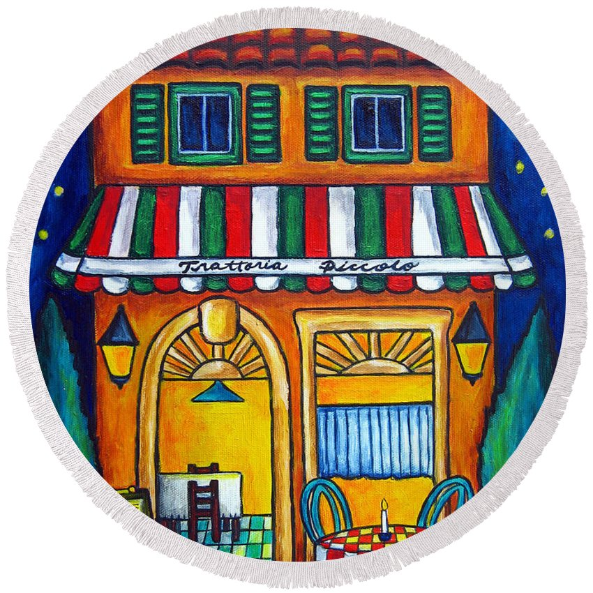 Blue Round Beach Towel featuring the painting The Little Trattoria by Lisa Lorenz