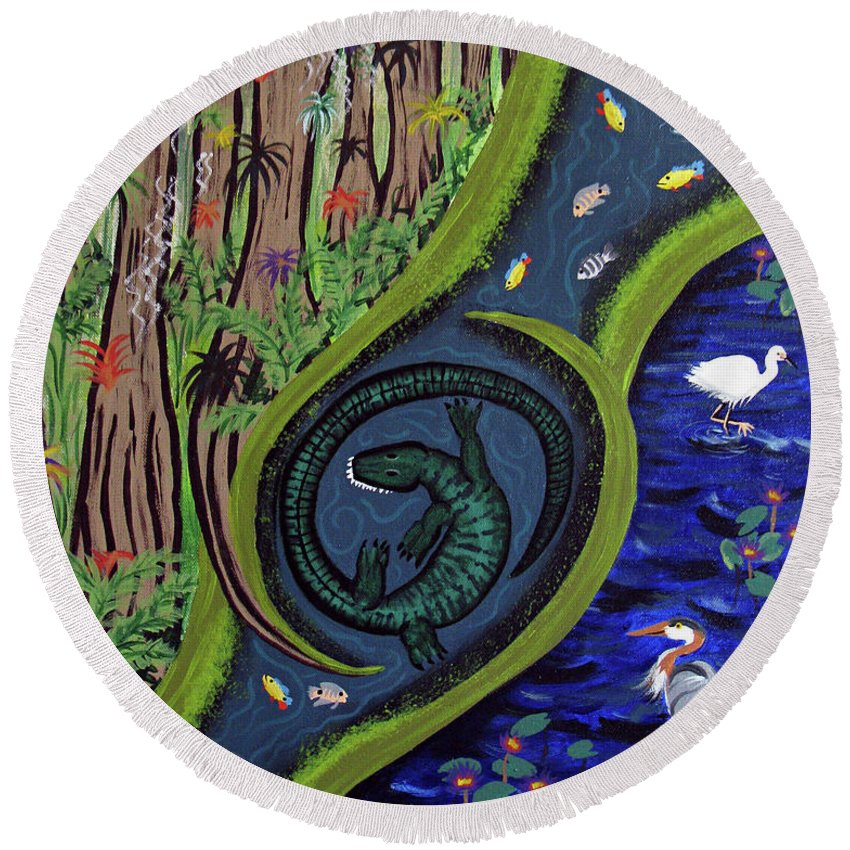 Alligator Round Beach Towel featuring the painting The Living Marshes by Ruth Fabiano