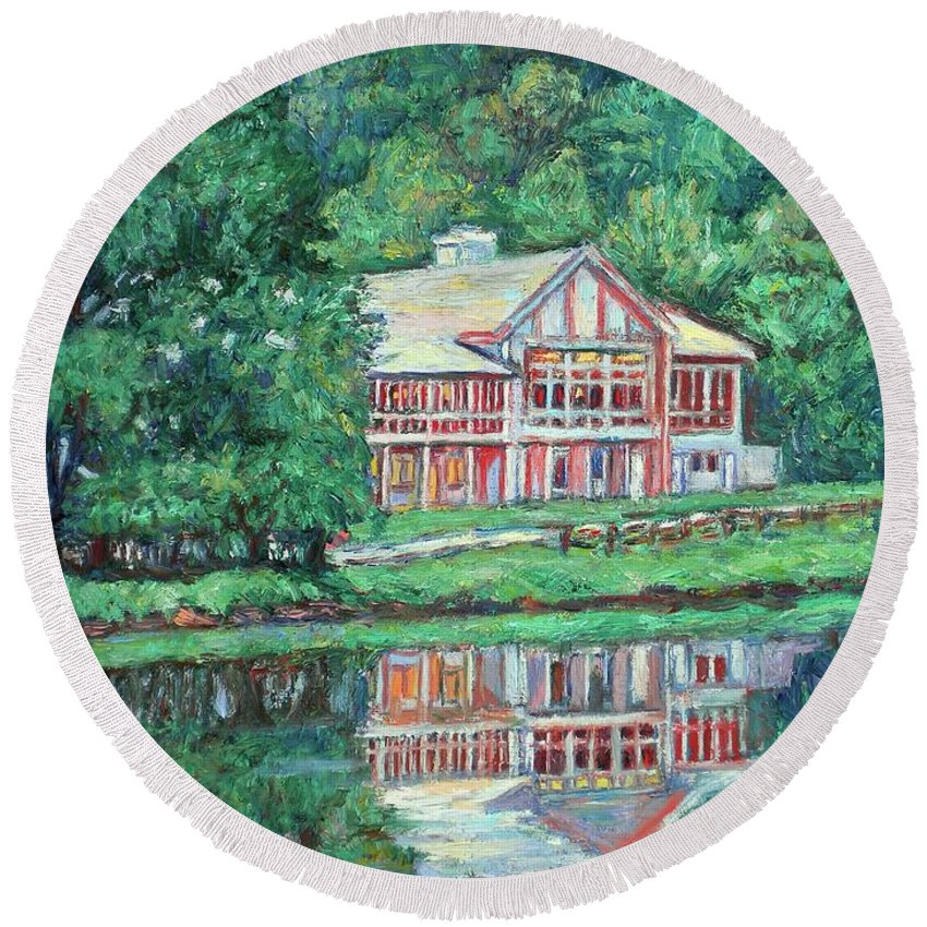 Lodge Paintings Round Beach Towel featuring the painting The Lodge At Peaks Of Otter by Kendall Kessler