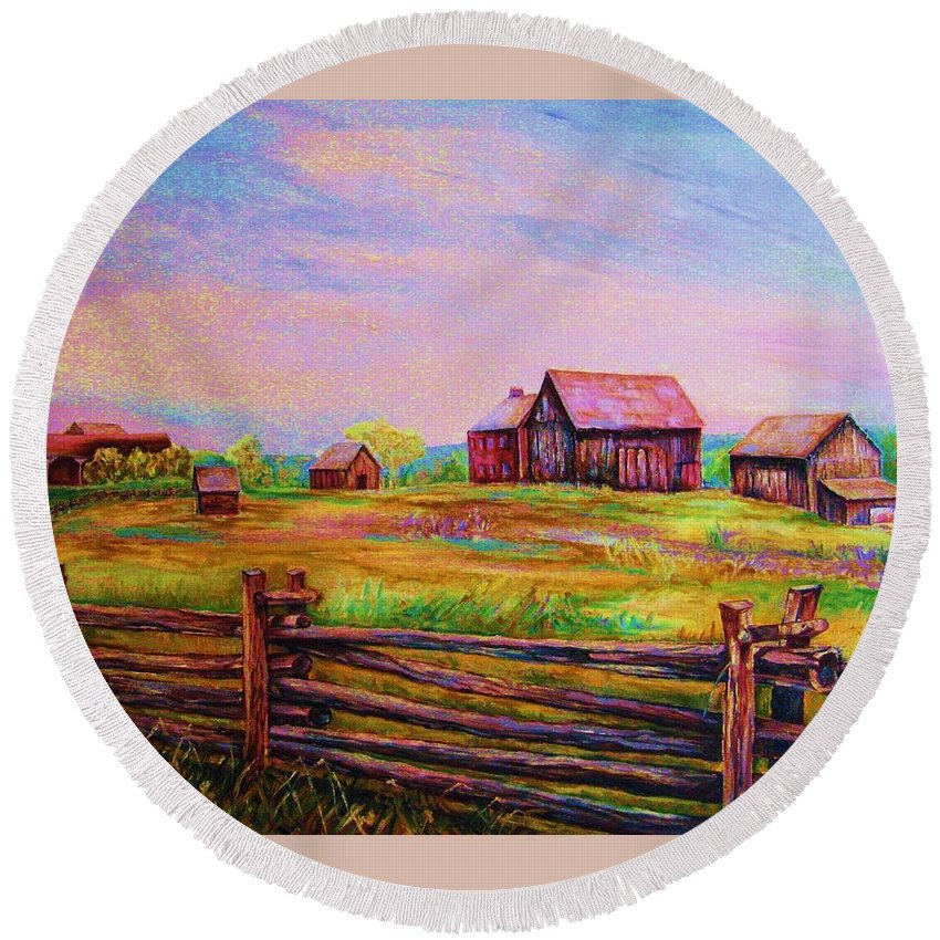 Ranches Round Beach Towel featuring the painting The Log Fence by Carole Spandau