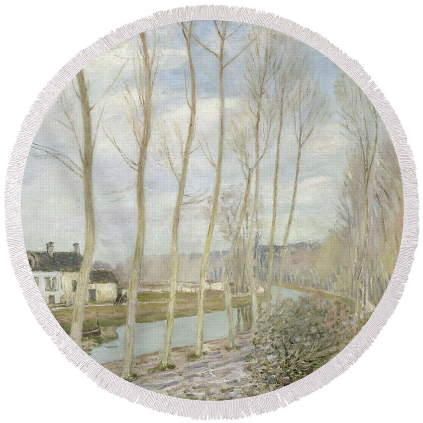 Alfred Sisley Round Beach Towel featuring the painting The Loing's Canal by Alfred Sisley