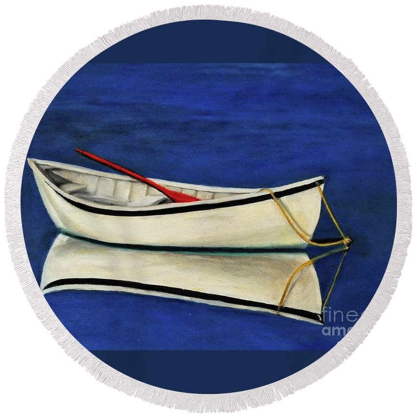 Boat Round Beach Towel featuring the painting The Lone Boat by Carolyn Shireman