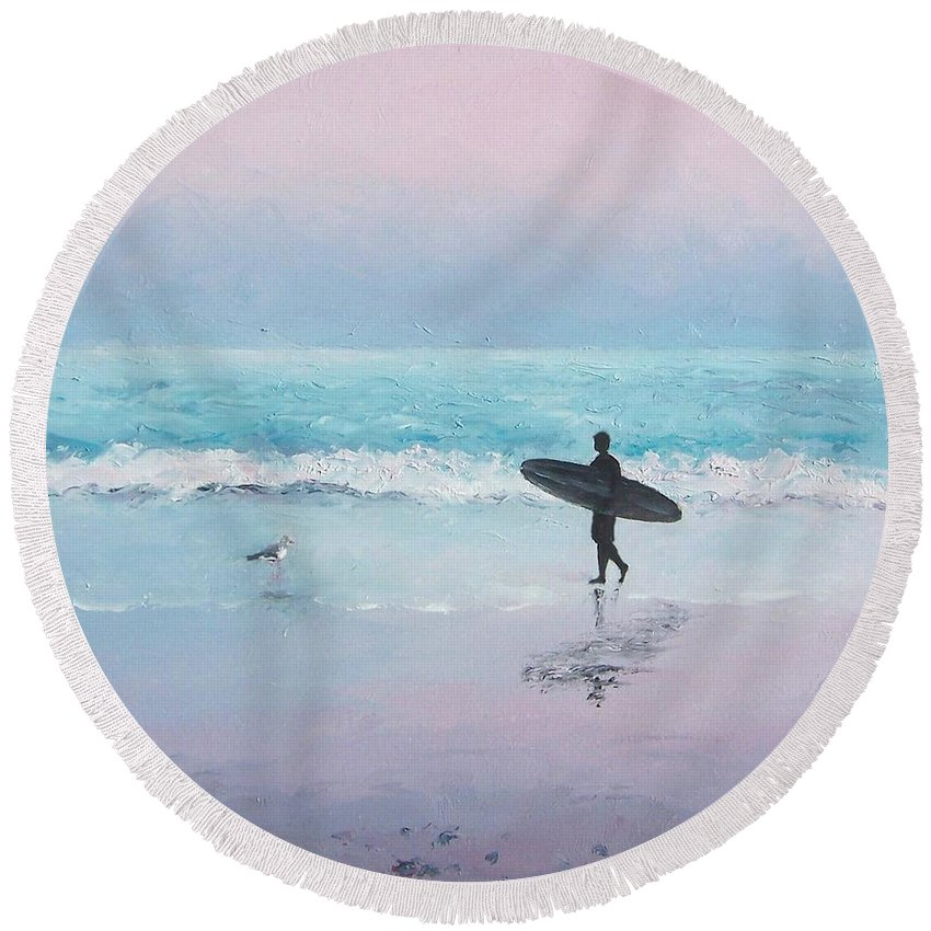 Beach Round Beach Towel featuring the painting The Lone Surfer 2 by Jan Matson