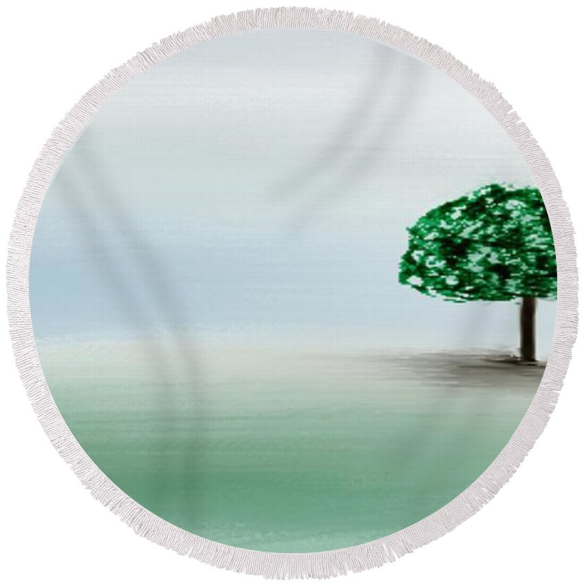 Custom Round Beach Towel featuring the painting The Lone Tree by Gina Lee Manley