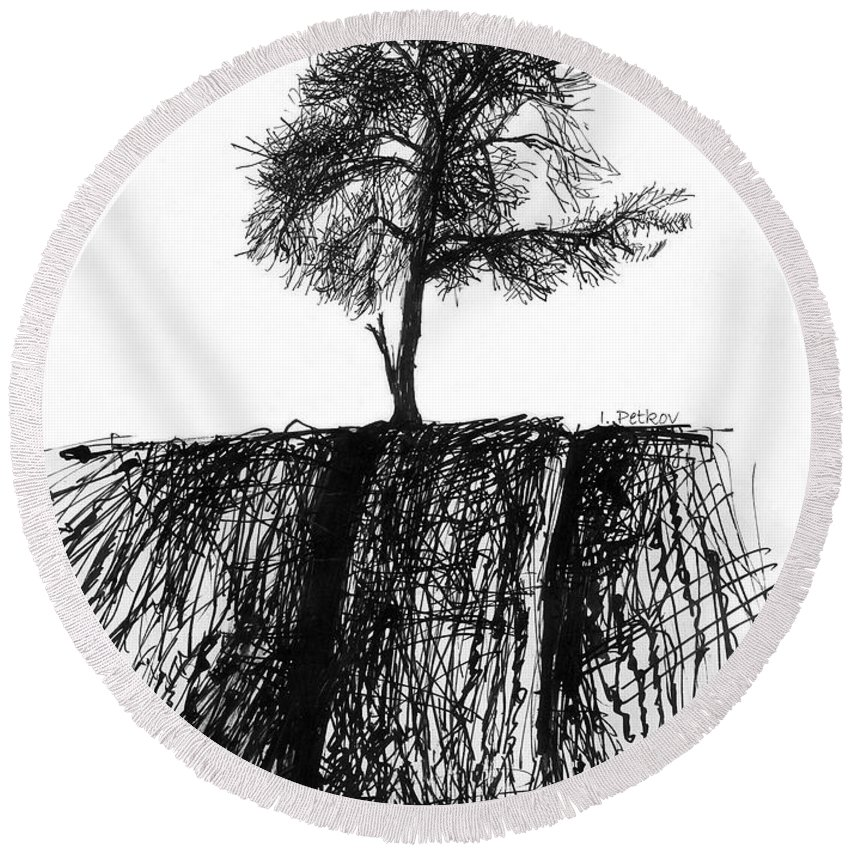 Lone Round Beach Towel featuring the drawing The Lone Tree by Iliyan Bozhanov