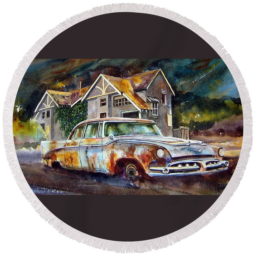 Old Dodoges Round Beach Towel featuring the painting The Lonesome Hotel by Ron Morrison