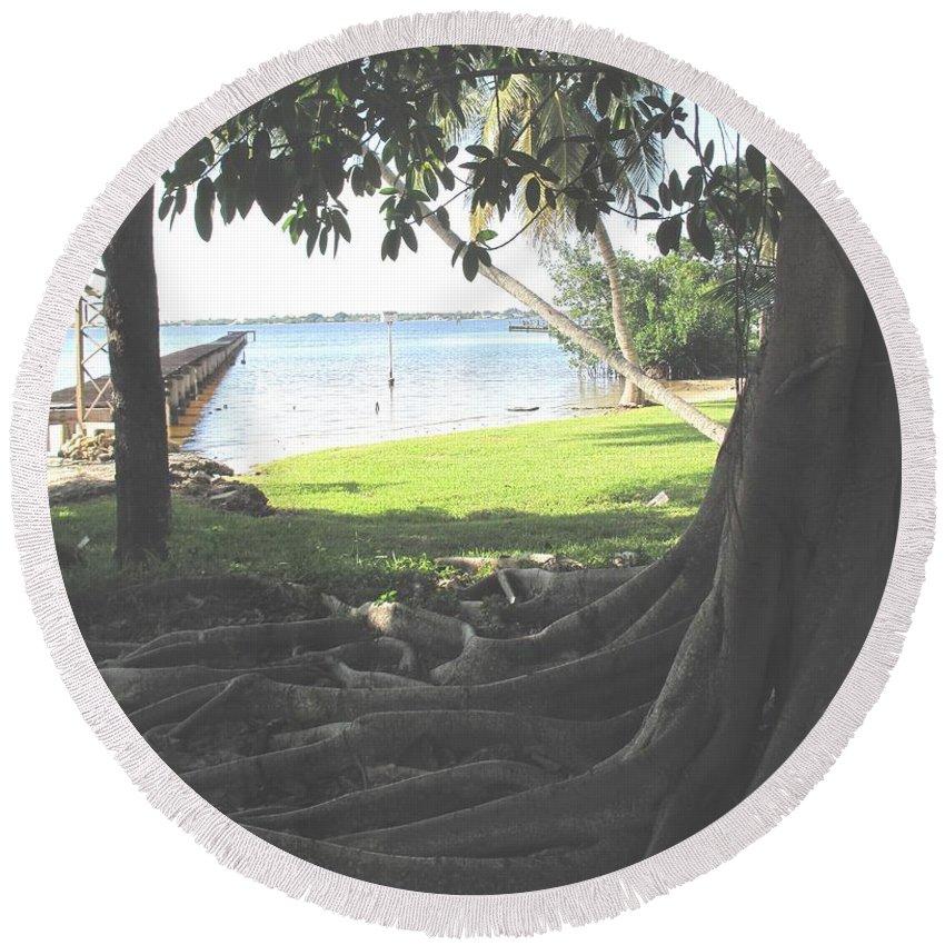 Florida Round Beach Towel featuring the photograph The Long Dock by Ian MacDonald