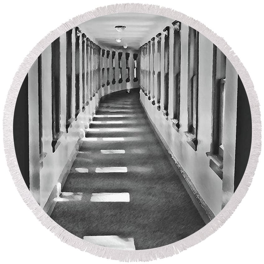 Hallway Round Beach Towel featuring the photograph The Long Hall by Jost Houk