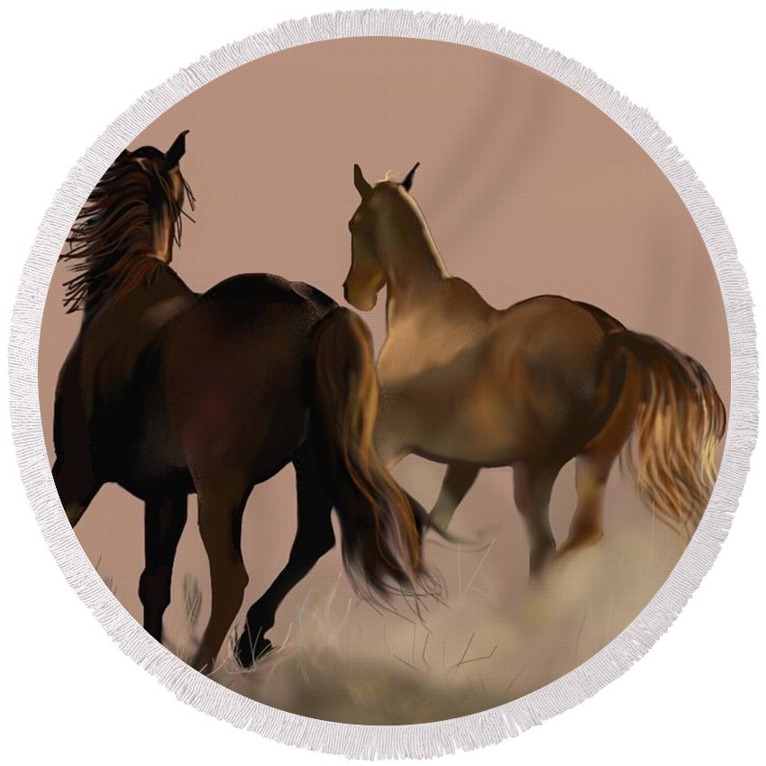 Horse Round Beach Towel featuring the painting The Long Race by Marie Clark