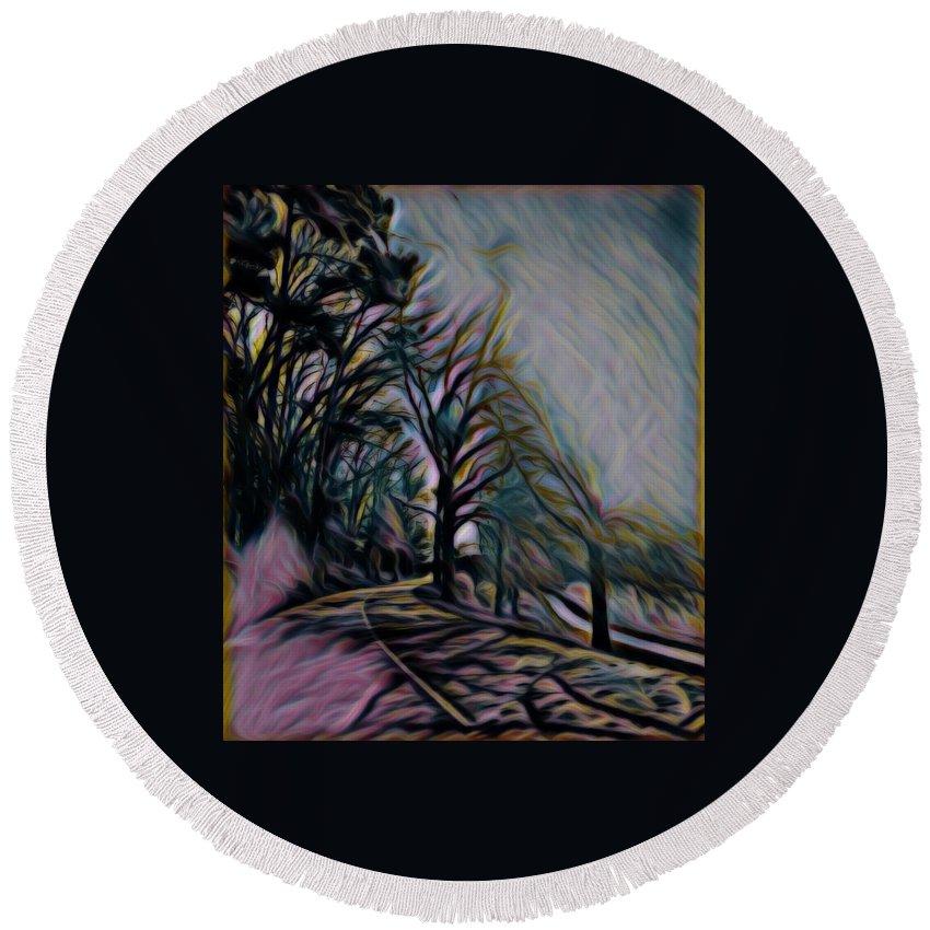 Round Beach Towel featuring the digital art The Long Run by Julia Beck