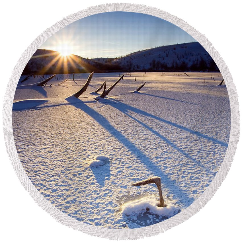 Sunrise Round Beach Towel featuring the photograph The Long Shadows Of Winter by Mike Dawson