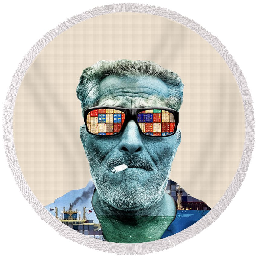 Pop Art Round Beach Towel featuring the photograph The Longshoreman by Dominic Piperata