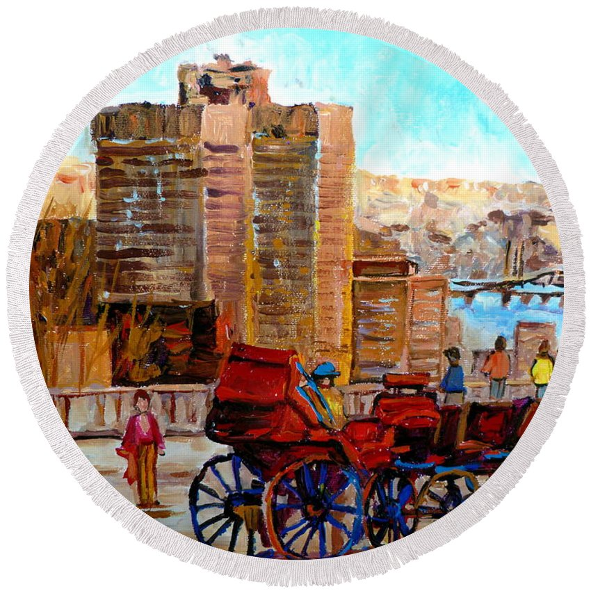 Montreal Street Scene Round Beach Towel featuring the painting The Lookout On Mount Royal Montreal by Carole Spandau