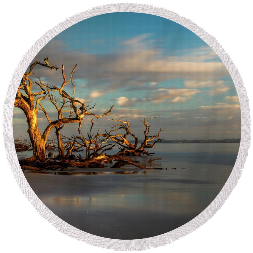 Driftwood Beach Round Beach Towel featuring the photograph The Lookout by Sanford Tullis