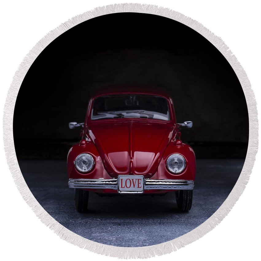 Car Round Beach Towel featuring the photograph The Love Bug Square by Edward Fielding