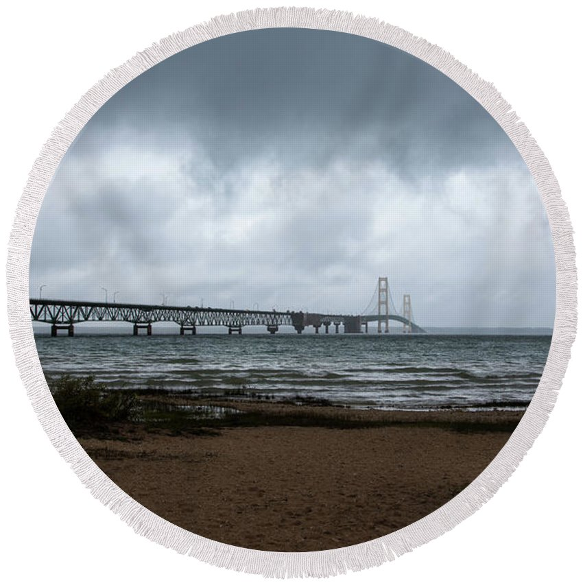 Architecture Round Beach Towel featuring the photograph The Mackinac Bridge by John M Bailey