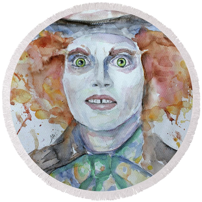Mad Round Beach Towel featuring the painting The Mad Hatter by Anna Marinova
