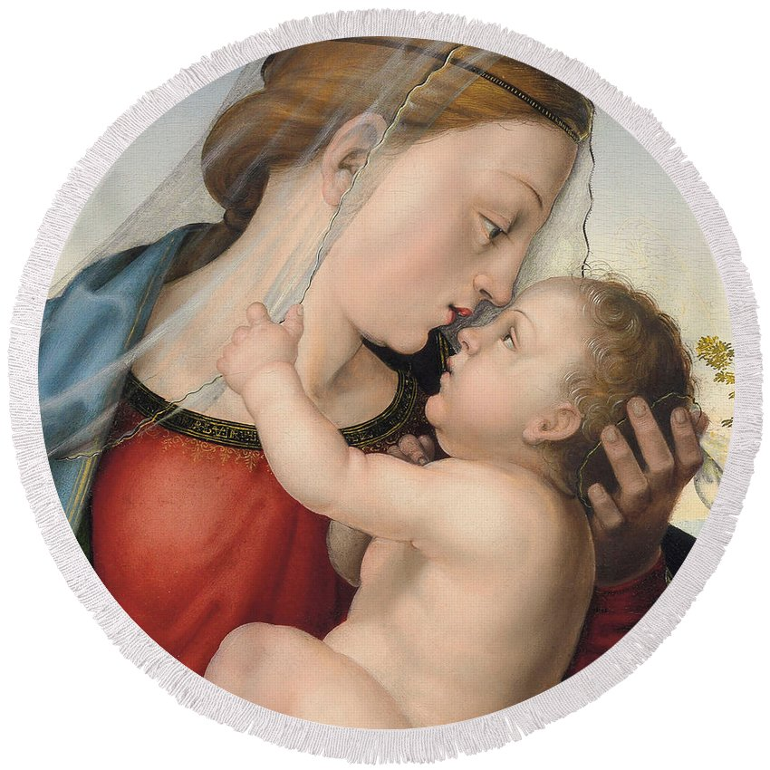Virgin And Child Round Beach Towel featuring the painting The Madonna And Child by Fra Bartolommeo