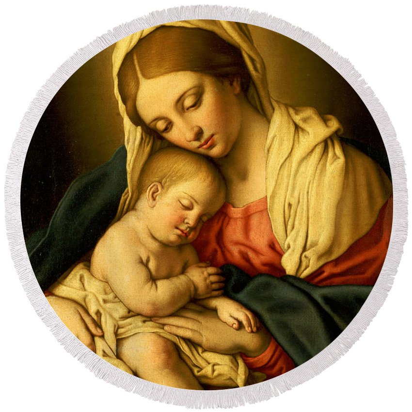 Mary Round Beach Towel featuring the painting The Madonna And Child by Il Sassoferrato