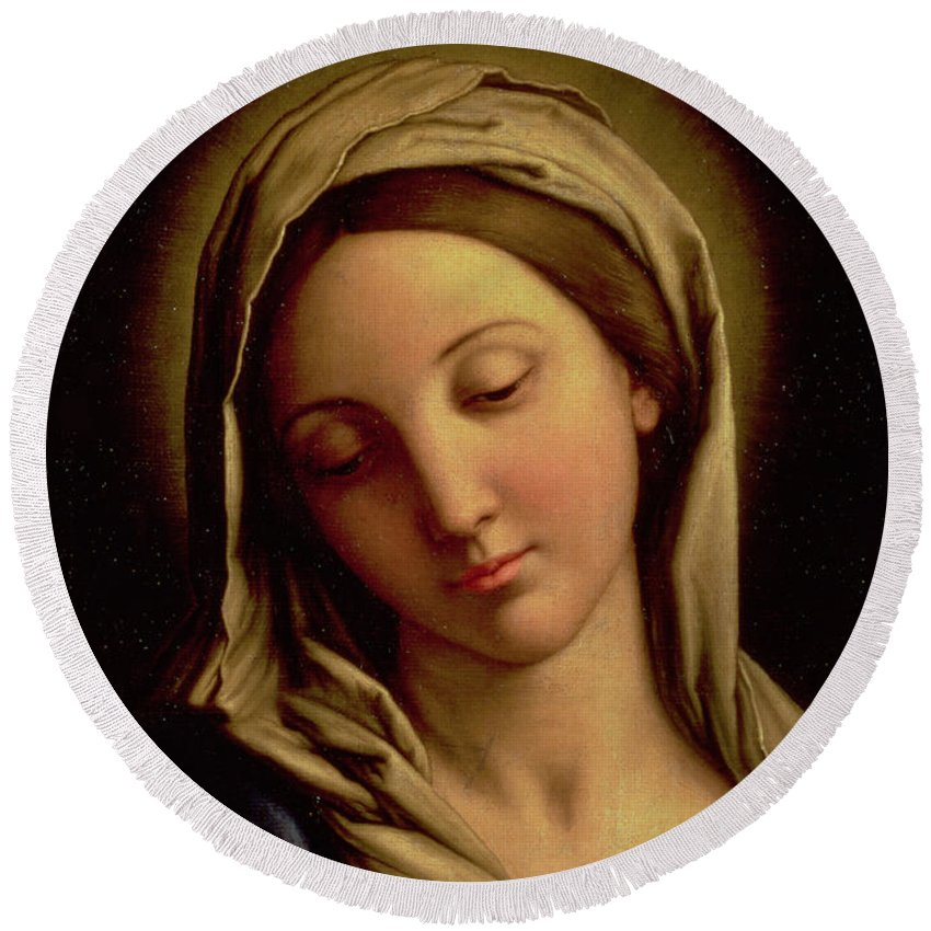 Mary Round Beach Towel featuring the painting The Madonna by Il Sassoferrato