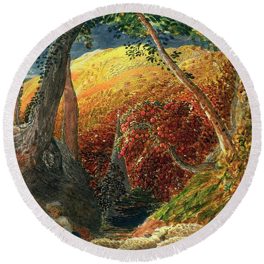 The Magic The Magic Apple Tree (indian Ink & W/c) By Samuel Palmer (1805-81) Round Beach Towel featuring the painting The Magic Apple Tree by Samuel Palmer
