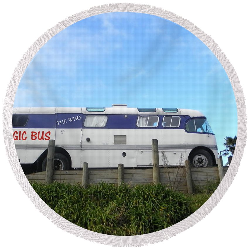 Who Round Beach Towel featuring the photograph The Magic Bus by Paul Pettingell