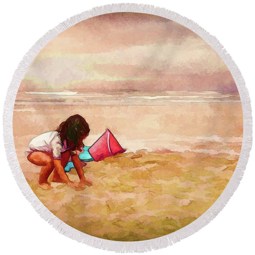 Little Girl On The Beach Round Beach Towel featuring the digital art The Magic Of Sand by Debbie Smith