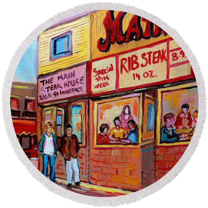 The Main Steakhouse Round Beach Towel featuring the painting The Main Steakhouse On St. Lawrence by Carole Spandau