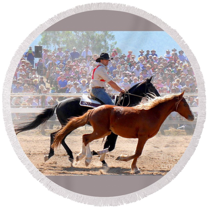 The Man From Snowy River Round Beach Towel featuring the photograph The Man From Snowy River by Lexa Harpell