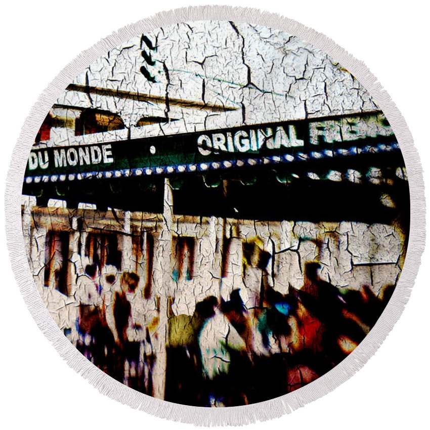 Cafe Du Monde Round Beach Towel featuring the photograph The Market by Scott Pellegrin