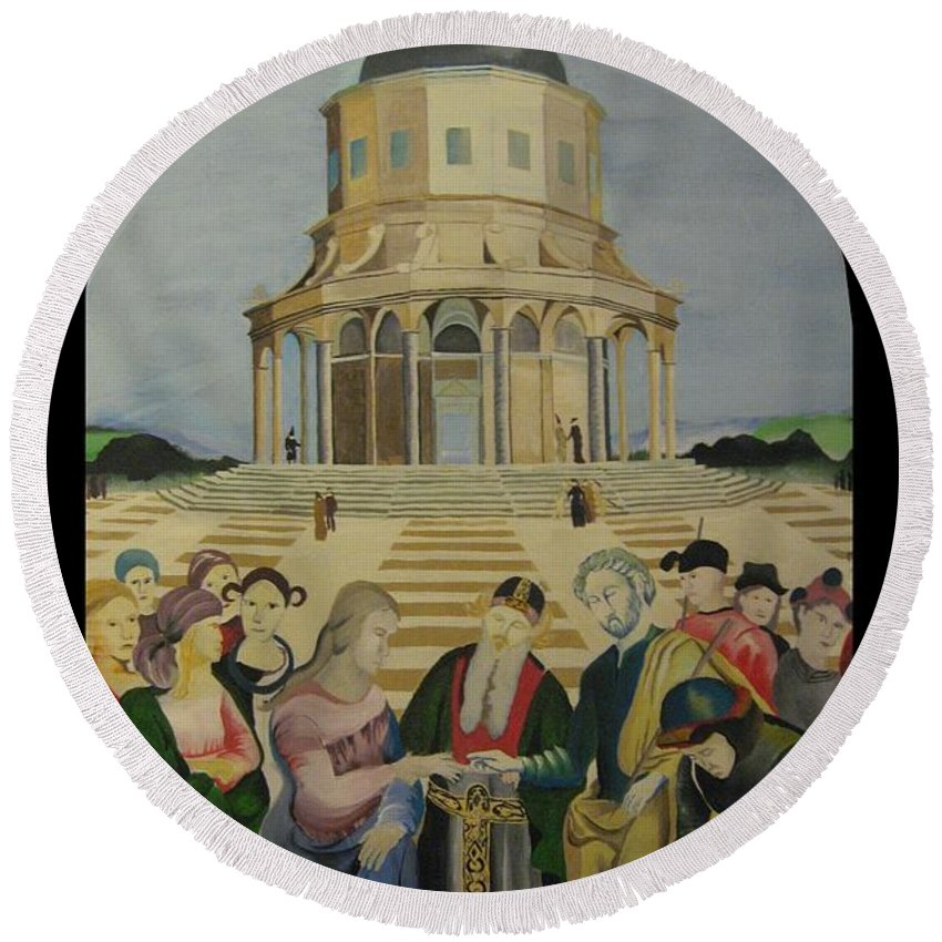 Round Beach Towel featuring the painting The Marriage Of The Virgin by Ronnie Lee