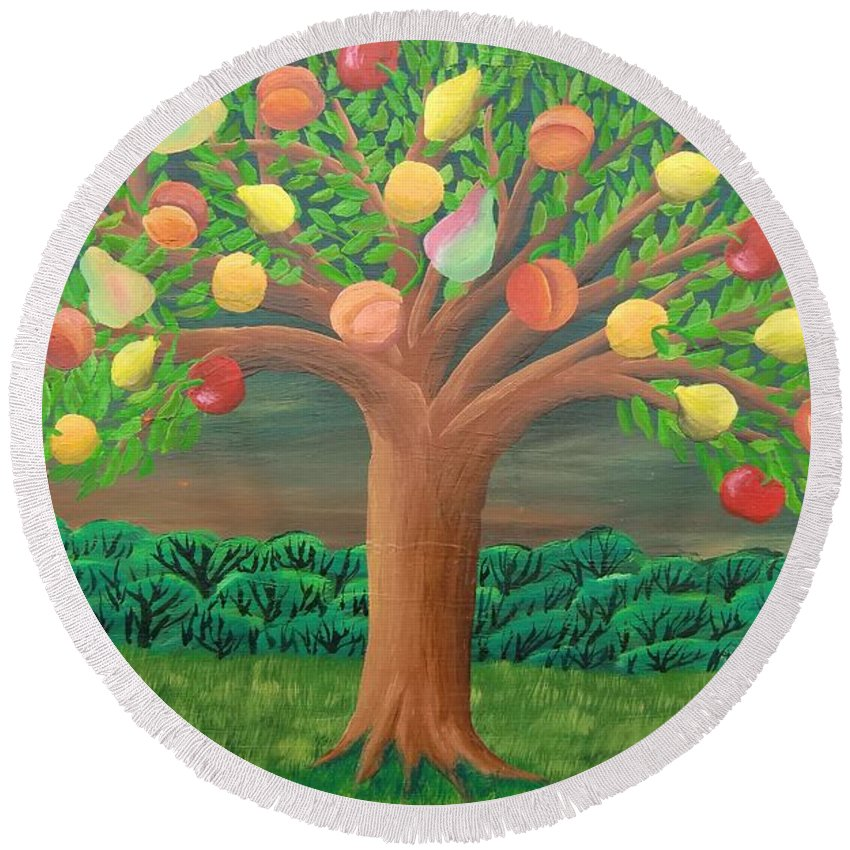 Marzipan Tree Round Beach Towel featuring the painting The Marzipan Tree by Philipp Merillat