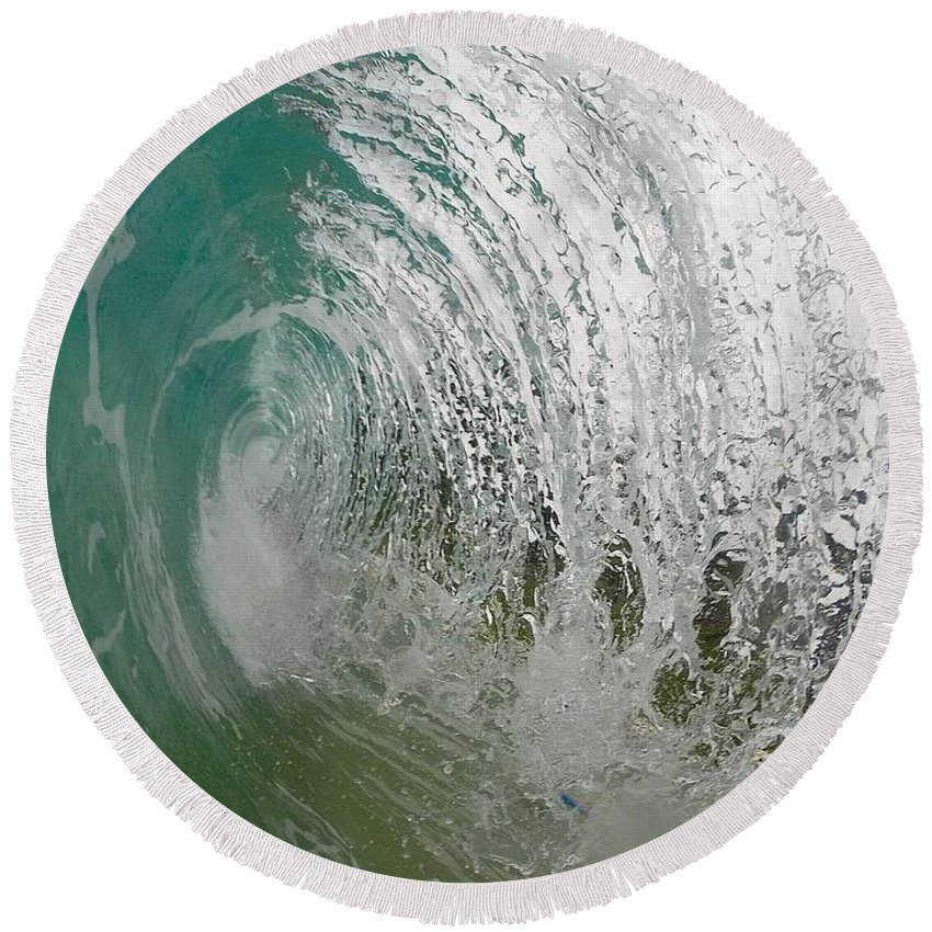 Wave Round Beach Towel featuring the photograph The Massive Backwash Barrel by Benen Weir