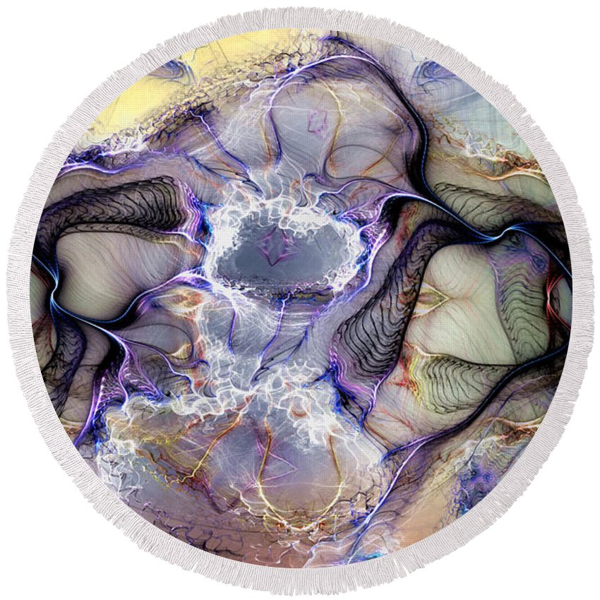 Abstract Round Beach Towel featuring the digital art The Matrix Reestablished by Casey Kotas