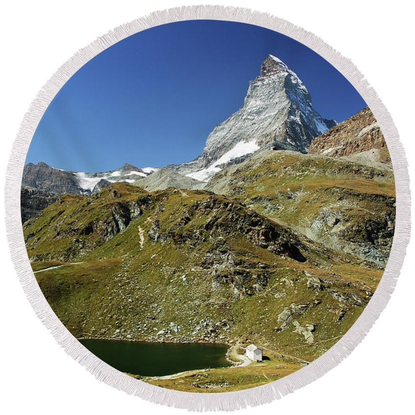 Landscape Round Beach Towel featuring the photograph The Matterhorn by Juraj Simek