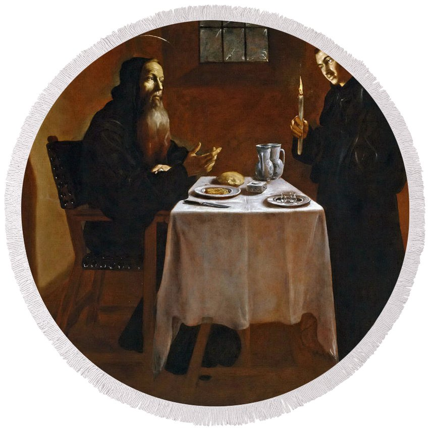 Juan Ricci Round Beach Towel featuring the painting The Meal Of Saint Benedict Of Nurcia by Juan Ricci