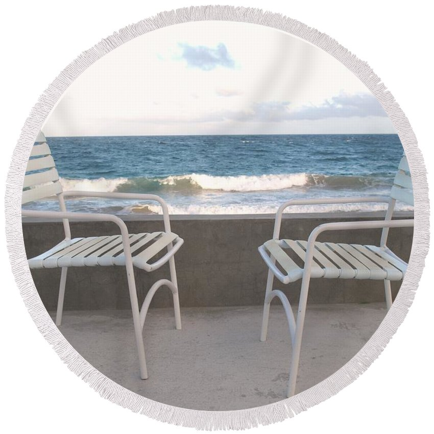 Seascape Round Beach Towel featuring the photograph The Meeting by Ian MacDonald