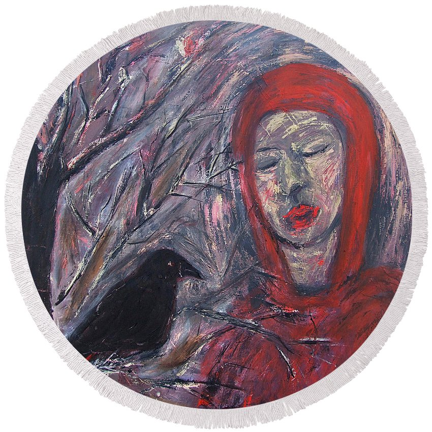 Katt Yanda Original Art Crow Womans Portrait Oil Painting Canvas Meeting Red Hair Lips Raven Tree Branches Round Beach Towel featuring the painting The Meeting by Katt Yanda
