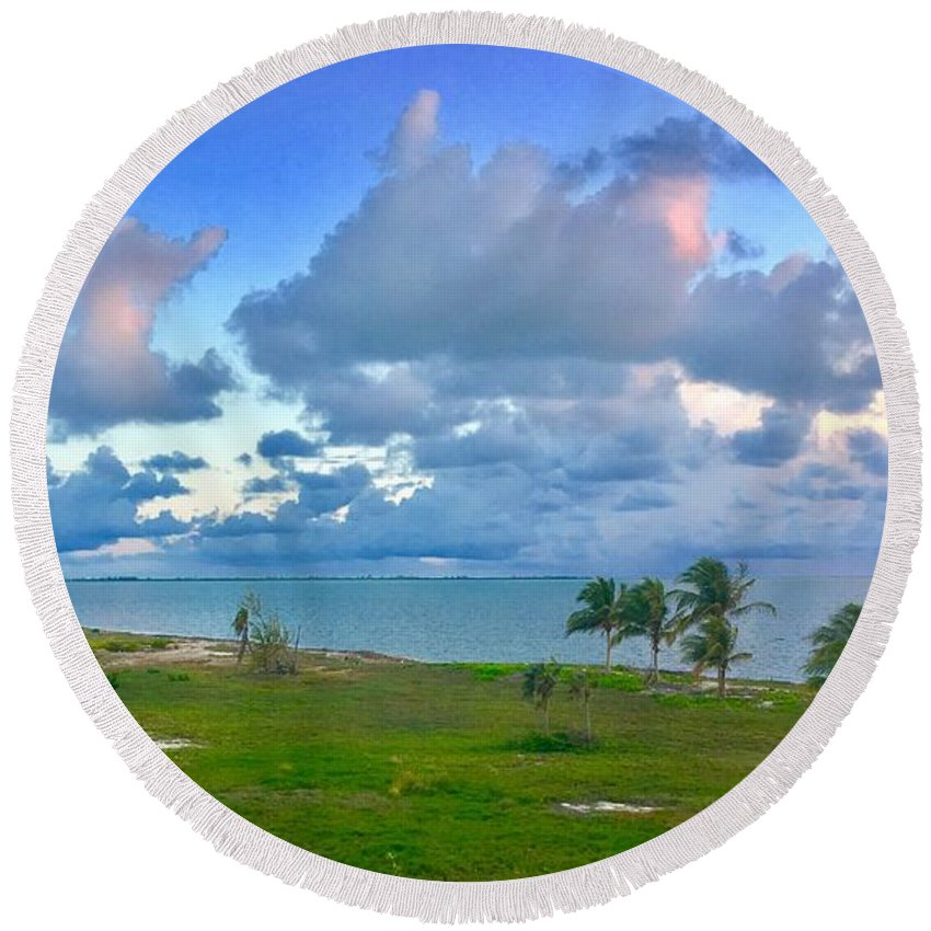 Landscape Seascape & Skyscape Round Beach Towel featuring the photograph The Meeting by Michael Nichol