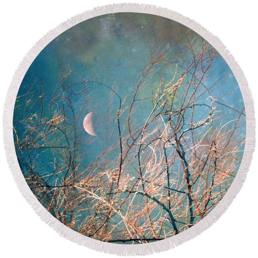 Moon Round Beach Towel featuring the photograph The Messy House Of The Moon by Tara Turner