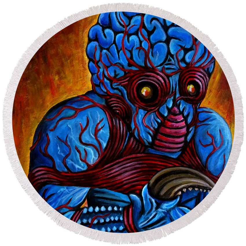 The Metaluna Mutant Round Beach Towel featuring the painting The Metaluna Mutant by Jose Mendez