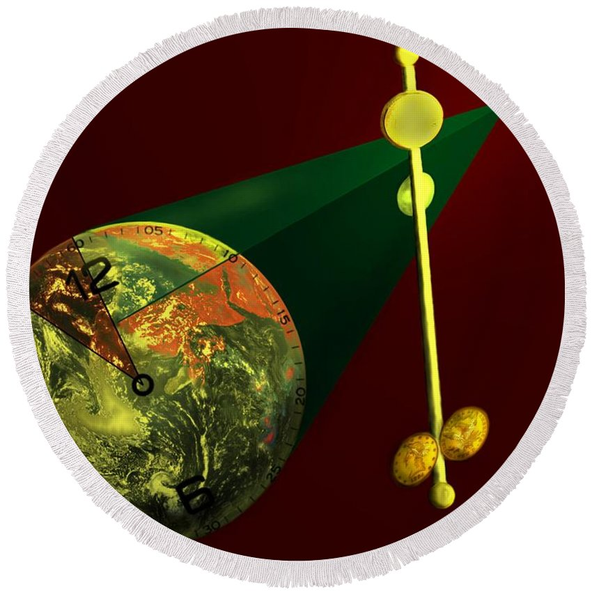 Earth Round Beach Towel featuring the digital art The Metronome by Helmut Rottler